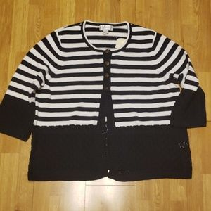 NWT Navy and white striped plus size cardigan